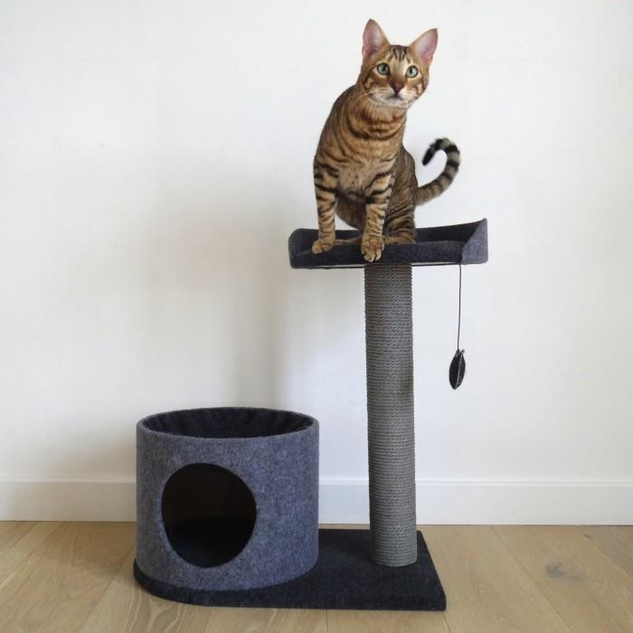 Arbre à chat et griffoir - Arbre à chat Charcoal Felt Cat House pour chats