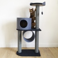 Arbre à chat - Arbre à chat Charcoal Felt Cat Tower Rosewood