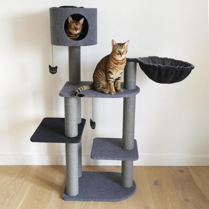 Arbre à chat et griffoir - Arbre à chat Charcoal Felt Cat 3Tower pour chats