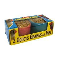 Friandises pour oiseaux - Godets de graines au miel pour oiseaux exotiques GEC