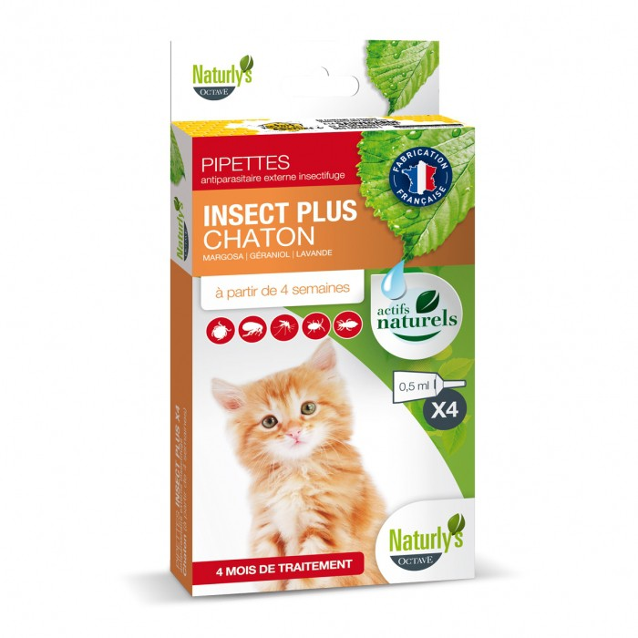 Anti puce chat, anti tique chat - Pipettes Insect Plus Chaton pour chats