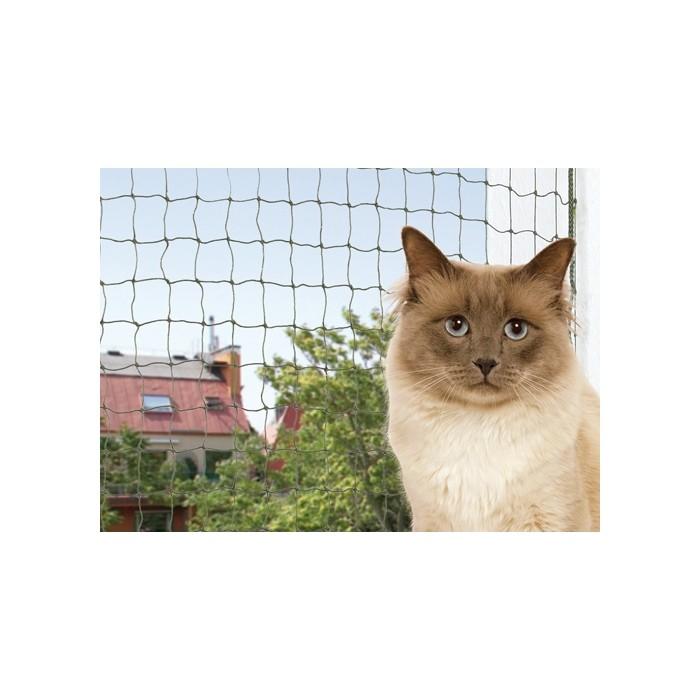 Chatière, sécurité, anti-fugue - Filet de sécurité pour balcon vert olive pour chats