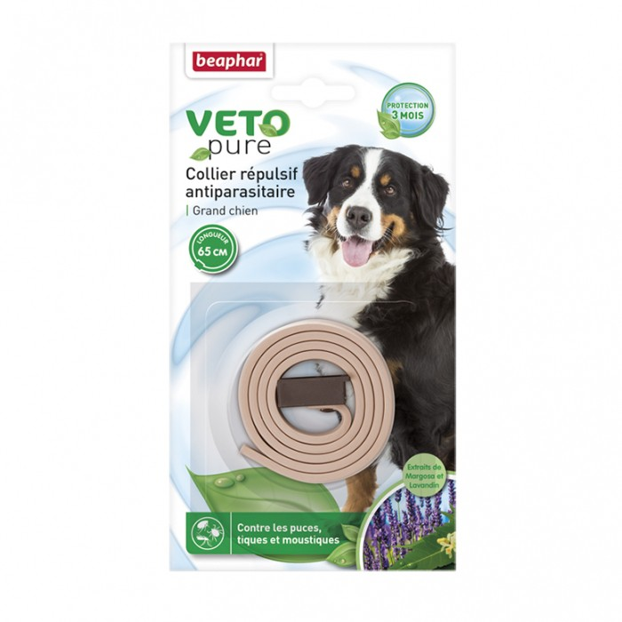 Anti puce chien, anti tique chien - Collier répulsif antiparasitaire Vetopure pour chiens