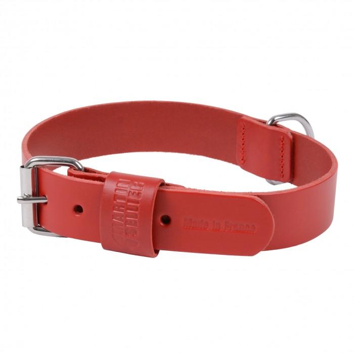 Collier, laisse et harnais - Collier Basic en cuir rouge pour chiens