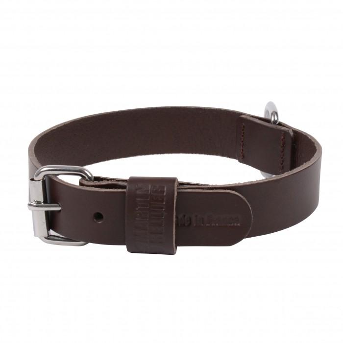 Collier, laisse et harnais - Collier Basic en cuir marron pour chiens