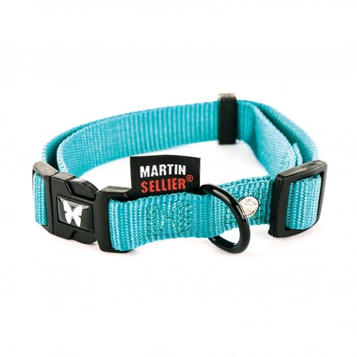 Collier, laisse et harnais - Collier Nylon réglable - Turquoise pour chiens