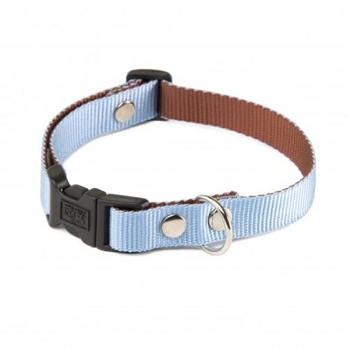 Collier, laisse et harnais - Collier Bicolore - Marron et bleu pour chiens