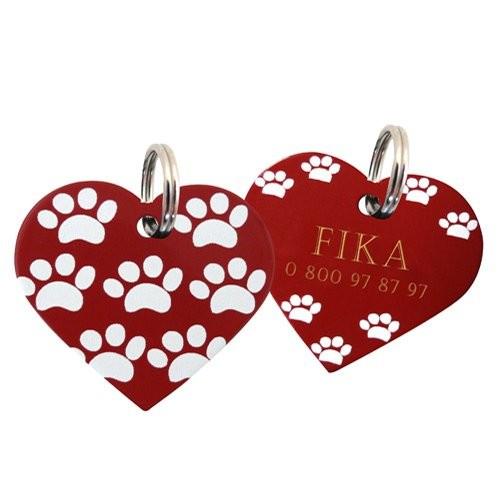 Médaille à personnaliser pour chien - Médaille personnalisée coeur Paws