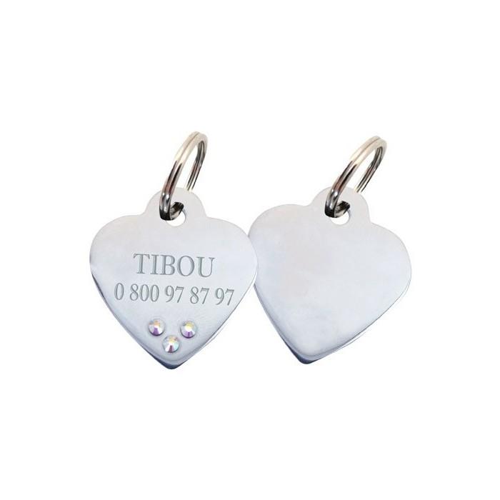 Collier, laisse et harnais - Médaille personnalisée Coeur avec strass pour chiens