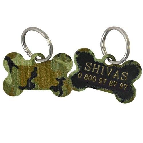 Collier, laisse et harnais - Médaille personnalisée Os Camouflage pour chiens
