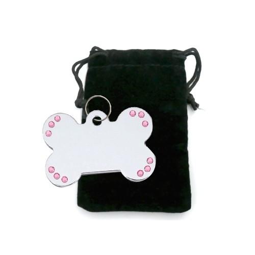 Collier, laisse et harnais - Médaille personnalisée Os avec strass pour chiens