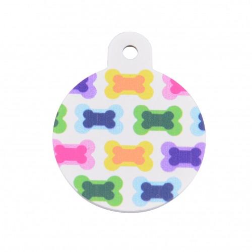 Collier, laisse et harnais - Médaille personnalisée Os multicolore pour chiens