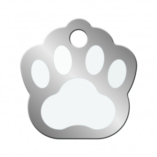 Collier, laisse et harnais - Médaille Patte Chromé pour chiens