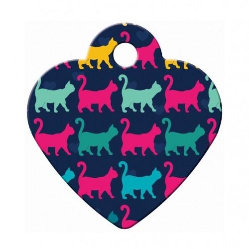 Collier, laisse et harnais - Médaille Petit cœur Multi Chat pour chats