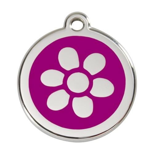 Collier, laisse et harnais - Médaille personnalisable motif Fleur pour chiens