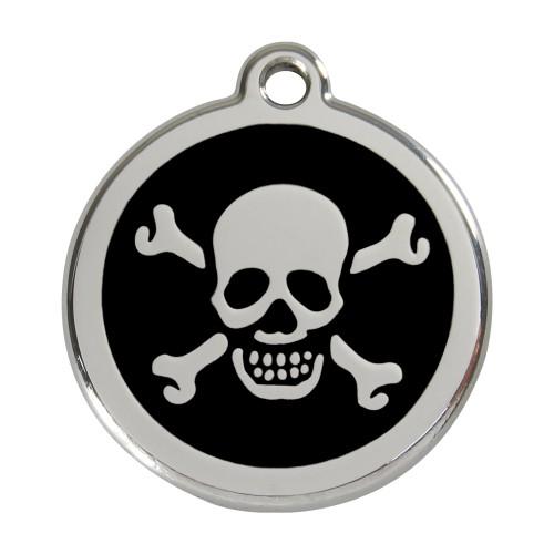 Collier, laisse et harnais - Médaille personnalisable motif Tête de mort pour chiens