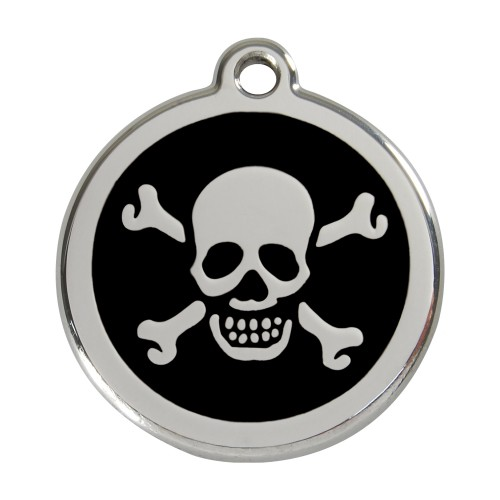Collier, laisse et harnais - Médaille personnalisable motif Tête de mort pour chats
