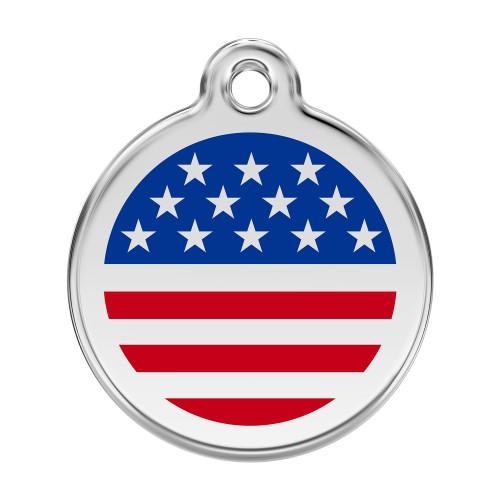 Collier, laisse et harnais - Médaille personnalisable Etats-Unis pour chats
