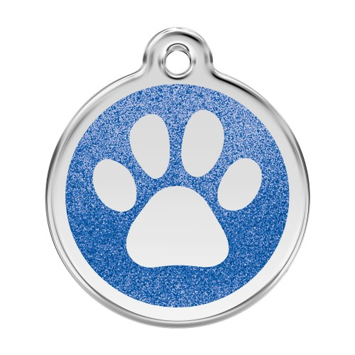 Collier, laisse et harnais - Médaille personnalisable Paillette motif patte de chien pour chiens