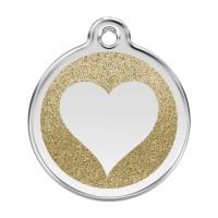 Médaille à personnaliser - Médaille personnalisable Paillette motif coeur Red Dingo