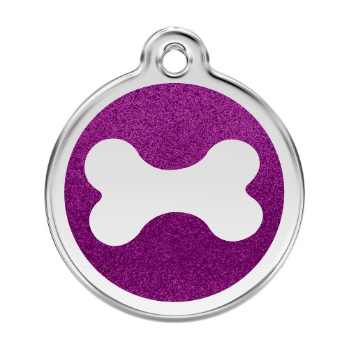 Médaille à personnaliser - Médaille personnalisable Paillette motif os Red Dingo