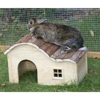 Maison pour rongeur - Maison avec toit ondulé Nature Kerbl