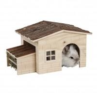 Couchage et habitat rongeur - Maison Nature avec râtelier intégré