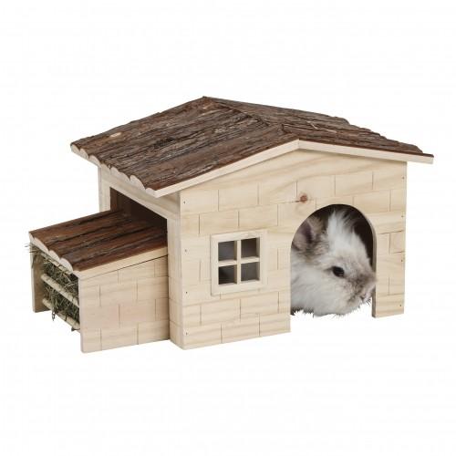Couchage et habitat rongeur - Maison Nature avec râtelier intégré pour rongeurs