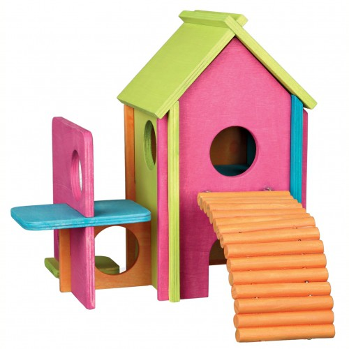 maison funky en bois d me et maison pour rongeur trixie wanimo. Black Bedroom Furniture Sets. Home Design Ideas