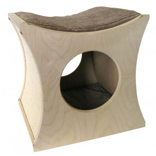 Couchage pour chat - Cabane griffoir Zen I pour chats