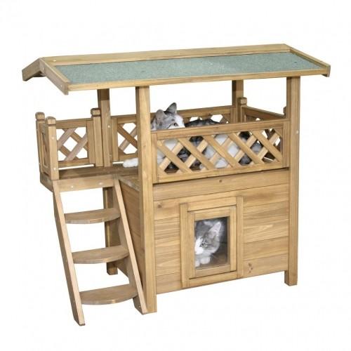 Maisonnette lodge niche maison pour chat wanimo - Niche pour chat exterieur plan ...