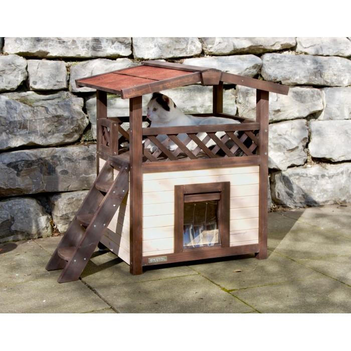 Maison 4 saisons deluxe maison en bois kerbl wanimo for Exterieur pour chat