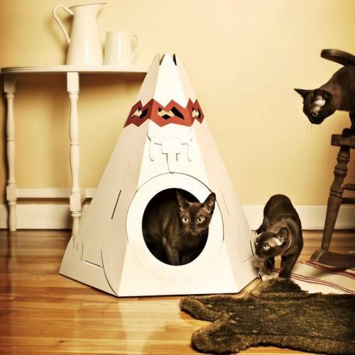 Couchage pour chat - Tipi en carton pour chats