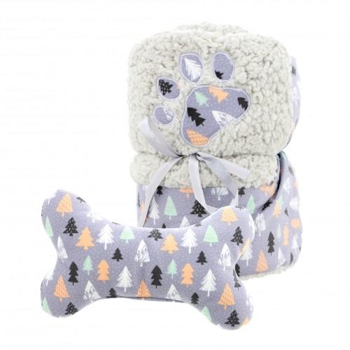 Couchage pour chien - Plaid Sapin de Noël et peluche Os pour chiens