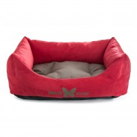 Couchage pour chien - Corbeille Domino Rouge Gris