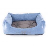 Panier et lit pour chien - Corbeille Domino Bleu Gris Martin Sellier