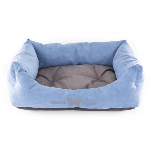 Couchage pour chien - Corbeille Domino Bleu Gris pour chiens