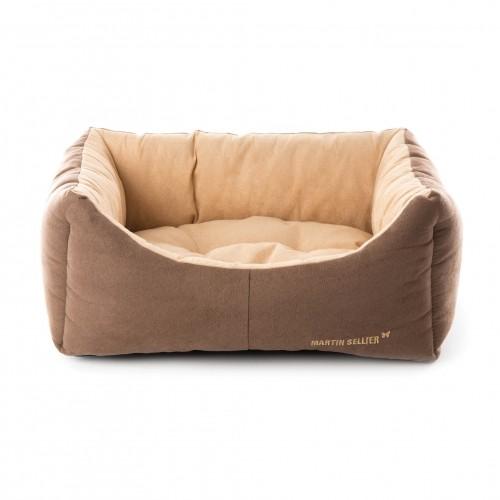 Couchage pour chien - Corbeille Domino Taupe Mauve pour chiens