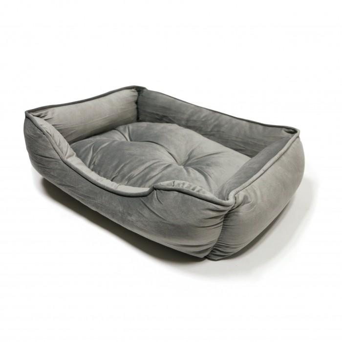 Couchage pour chien - Corbeille en suédine grise pour chiens