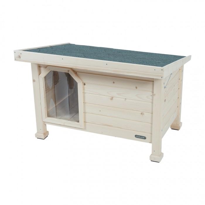 Couchage pour chien - Niche en bois avec toit plat pour chiens