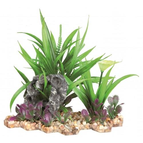 Décoration pour aquarium - Plante sur lit de gravier 18 cm pour poissons