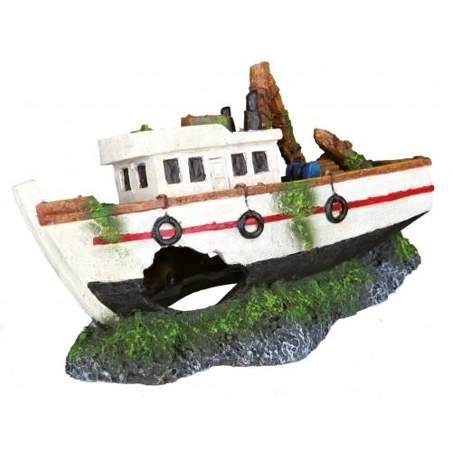 Décoration pour aquarium - Barque de pêche pour poissons