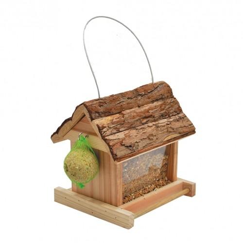 EXTERIEUR - Oiseaux des jardins - Mangeoire Lidia toit écorce pour oiseaux