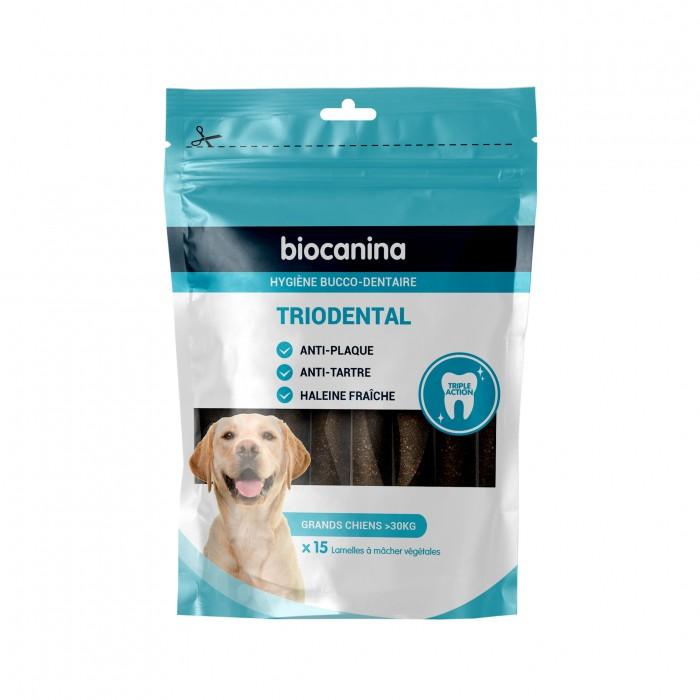 Hygiène dentaire, soin du chien - Lamelles à mâcher végétales Triodental  pour chiens
