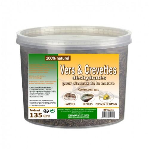 Friandise et complément poule - Vers de farine et crevettes déshydratés pour poules