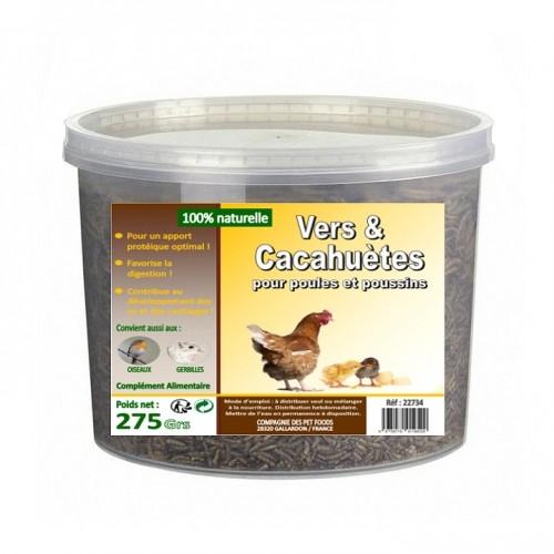 Friandise et complément poule - Vers de farine déshydratés et cacahuètes  pour poules