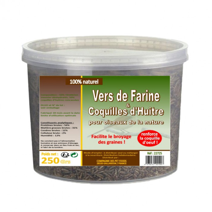 Vers de farine et coquilles d'huitres
