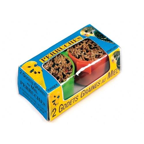Friandise pour oiseau - Godets de graines au miel pour perruches pour oiseaux