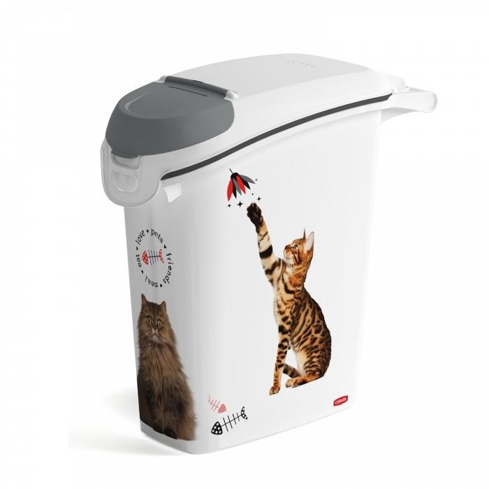 Gamelle, distributeur & fontaine - Conteneur à croquettes Love Cats avec bec verseur pour chats