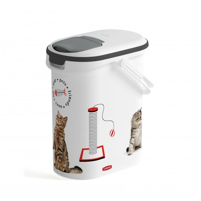 Gamelle, distributeur & fontaine - Petit conteneur à croquettes Love Cats avec anse pour chats